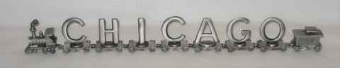 Vintage FORT Pewter Train CHICAGO - 7 Letters + Engine & Caboose in Naperville, Illinois