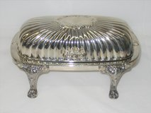 Vintage Butter Dish - F.B. Rogers Silver Plate - Roll Top Lion Footed - With Glass Dish in Naperville, Illinois