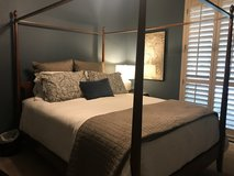Solid maple 4-poster queen bed frame with canopy in Spring, Texas