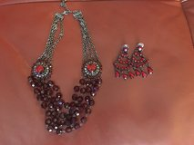 Red necklace with earrings. in Kingwood, Texas