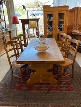 solid oak monastery table with 6 chairs in Spangdahlem, Germany