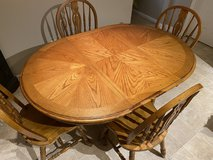 Oak Dining Room Table with 4 Chairs in Warner Robins, Georgia