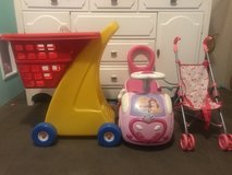 Toy shopping car, princess toy car and doll stroller in Spring, Texas