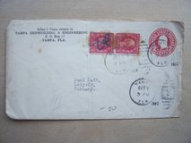 Two U.S. STAMPS, OF WASHINGTON, 2 CENTS and a 2 CENT EMBOSSED ENVELOPE STAMP (1922) in Stuttgart, GE