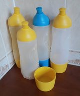 4xTUPPERWARE large drinking bottles 415ml yellow / blue-used but good condition in Spangdahlem, Germany