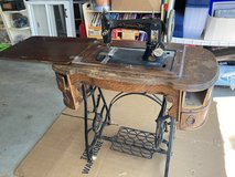 Antique Sewing Machine Table with Working Machine in Naperville, Illinois