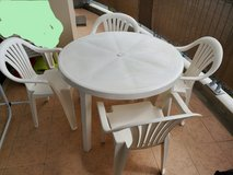 plastic table with 4 chairs outdoor in Okinawa, Japan