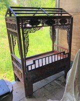 ANTIQUE ROSEWOOD BABY CRIB - INTRICATE DETAILS - ORIENTAL / CHINESE - CANOPY in Naperville, Illinois