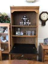 Oak Cabinet with Fold-down, Lighted Desk in Naperville, Illinois