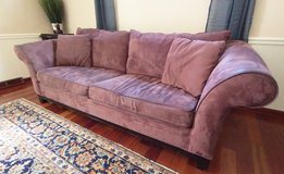 Microsuede Plum Couch - Great sleeper! in Naperville, Illinois