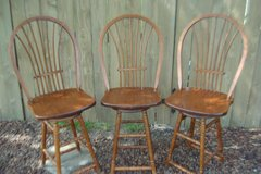 3 SOLID OAK SWIVEL COUNTER STOOLS in Naperville, Illinois