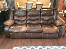 Brown leather couch in Camp Lejeune, North Carolina