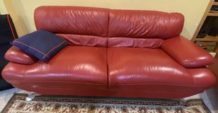 Red Leather couch / sofa / 2 Seater in St. Charles, Illinois