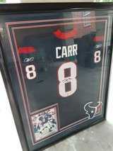 Houston Texas David Carr Autographed Jersey Framed in Conroe, Texas