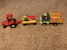 vintage Fisher Price farm toys and a snowmobile in Spring, Texas