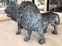 PAIR OF LIFESIZE BRONZE STANDING LION SCULPTURES in Naperville, Illinois