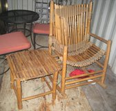 MID CENTURY VINTAGE BAMBOO RATTAN WICKER - CHAIR & MATCHING TABLE - RUSTIC in Naperville, Illinois