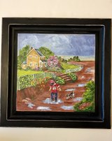 """BRAND NEW! HAND PAINTED COTTAGE PAINTING """"Boy with Dig Jumping a Puddles"""" in Naperville, Illinois"""