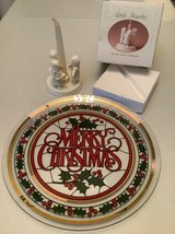 """Christmas Holiday 13"""" BIG Glass Platter & Porcelain Angel Candle Holder in Naperville, Illinois"""