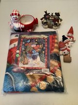 Christmas Holiday 4 pc. Snowmen, Blanket, Candy dish, Family of 5, Sled of 3 in Naperville, Illinois
