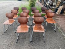 Classic sturdy mid century chairs German manufacturer Flötotto in Spangdahlem, Germany