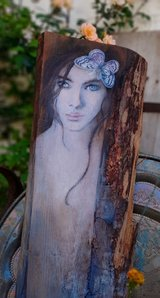 Enchanting painting Oil on old wood Hand painted Vintage Shabby in Stuttgart, GE