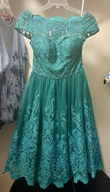 Soft teal cocktail dress - ChiChi's of London, size 8, NEVER WORN w/ tags in St. Charles, Illinois