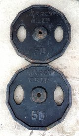 2 Vintage Marcy Grip Olympic 50 lb Weight Plates, in 29 Palms, California
