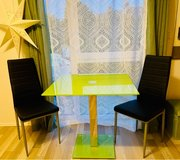 Green Glass Square Table and two chairs in Lackland AFB, Texas