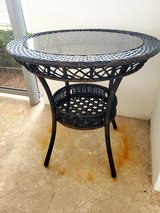 Wicker Round Glass Top Dining Table in Melbourne, Florida