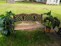 BENCH WITH 2 FAKE PLANTS FOR SALE in Kingwood, Texas
