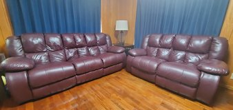 Leather reclining couch set with folding center table in Okinawa, Japan