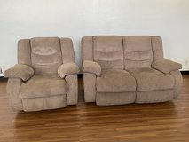 Ashley Furniture Reclining Love Seat and Rocker Couch Set in Okinawa, Japan