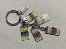 Coach keychain silver tone with enamel horse & carriage tags in St. Charles, Illinois