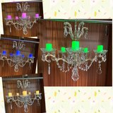 Crystal Candelabra Hanging Light Lamp Chandelier w/5 Flameless Candles in Ramstein, Germany