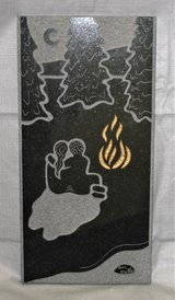"""ART - Vintage Granite Stone Tile Engraving by Chicago Artist - Amy Dallas -12"""" x 6"""" x 3/8"""" in Naperville, Illinois"""