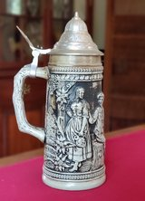 Brown German Gerz Stein with Pewter Lid in Plainfield, Illinois