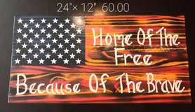 """12""""×24"""" Hand painted wooden Flag. New in Fort Knox, Kentucky"""