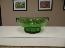 EO Brody green glass scalloped bowl in Kingwood, Texas