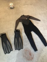 Rip Curl wetsuit new with tags size Small and fins in Okinawa, Japan
