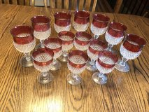 Vintage Set of 14 Indiana Glass Kings Crown Diamond Point Cranberry Flash Goblets in Rolla, Missouri