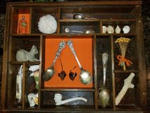 Shadow Box with Sterling spoons, Imperial knife, Clay indian pipe in Warner Robins, Georgia