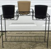 """Metal Plant Stand w/ 3 Flower Pots / 6"""" Planters in Naperville, Illinois"""