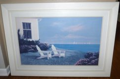 Framed Art - Adirondack Chairs - LARGE Coastal Wall Hanging in Naperville, Illinois
