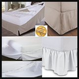 *TAILOR FIT Twin and  Full size color Khaki and White Bedskirt and Box Spring Protector* in Okinawa, Japan