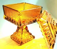 Vintage Amber Glass Dish with Lid in Bolingbrook, Illinois