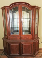 Cherrywood China Cabinet with Stainedglass in Ramstein, Germany