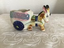 Vintage Donkey statue with cart planter in Plainfield, Illinois