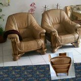 Leather & Oak Chairs - Easy Lounge Arm Sofa - Pair in Ramstein, Germany