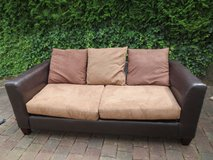 Couch Dark Brown Naugahyde Leather with Cushions in Ramstein, Germany